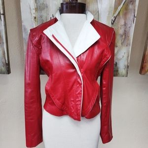 Vintage Red Leather Moto Jacket Women's XS/S